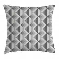 Gri Geometrik Desenli Yastık Kırlent Kılıfı