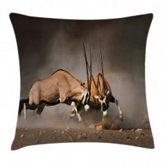 Antilop Temalı Yastık Kırlent Kılıfı