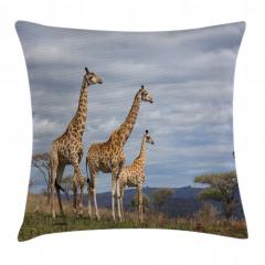 Zürafa Temalı Yastık Kırlent Kılıfı