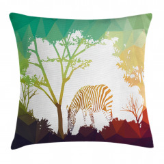 Ormandaki Zebra Temalı Yastık Kırlent Kılıfı