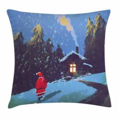 Noel Baba ve Kış Gecesi Yastık Kırlent Kılıfı