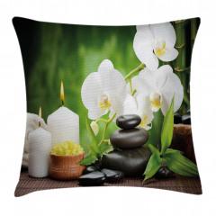 Orkide Mum ve Taş Yastık Kırlent Kılıfı