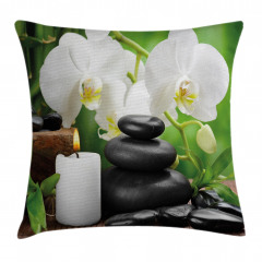 Taş Orkide ve Mum Yastık Kırlent Kılıfı