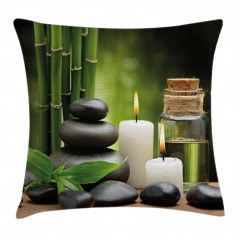 Bambu Taş ve Mum Temalı Yastık Kırlent Kılıfı