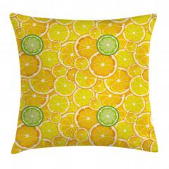Limon Dilimleri Desenli Yastık Kırlent Kılıfı