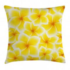 Sarı Beyaz Çiçek Yastık Kırlent Kılıfı
