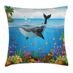 Balina ve Deniz Desenli Yastık Kırlent Kılıfı