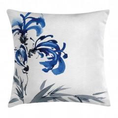 Gri Mavi Çiçek Desenli Yastık Kırlent Kılıfı