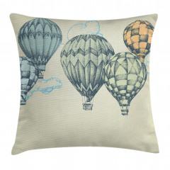 Nostaljik Balon Desenli Yastık Kırlent Kılıfı