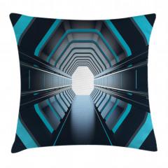 Mavi Işıklı Tünel Yastık Kırlent Kılıfı