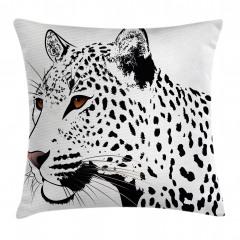 Siyah Beyaz Leopar Yastık Kırlent Kılıfı