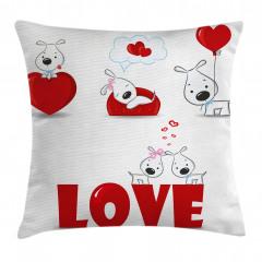 Kalpli Köpek Desenli Yastık Kırlent Kılıfı