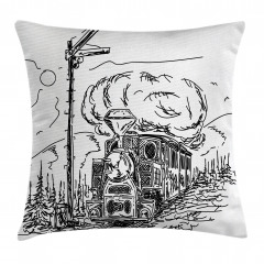 Nostaljik Tren Desenli Yastık Kırlent Kılıfı