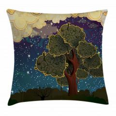 Ağaç ve Yıldızlar Yastık Kırlent Kılıfı