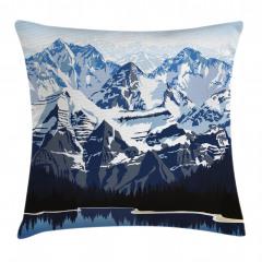 Karlı Dağ Gölü Desenli Yastık Kırlent Kılıfı
