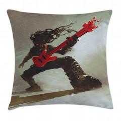 Kırmızı Gitar Müzisyen Yastık Kırlent Kılıfı