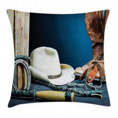 Kovboy Çizmesi ve Şapka Yastık Kırlent Kılıfı