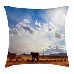 At ve Gökyüzü Temalı Yastık Kırlent Kılıfı