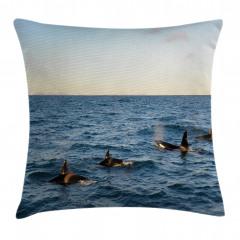 Deniz ve Balina Desenli Yastık Kırlent Kılıfı