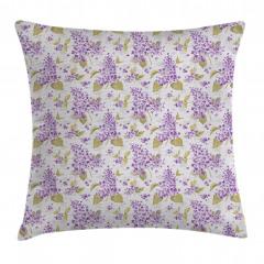 Mor Çiçek Desenli Yastık Kırlent Kılıfı