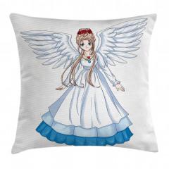 Melek Kız Desenli Yastık Kırlent Kılıfı