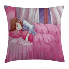 Uyuyan Kız Temalı Yastık Kırlent Kılıfı