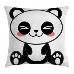 Sevimli Panda Temalı Yastık Kırlent Kılıfı