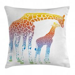 Anne ve Yavru Zürafa Yastık Kırlent Kılıfı
