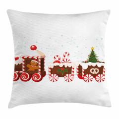Noel Treni Desenli Yastık Kırlent Kılıfı