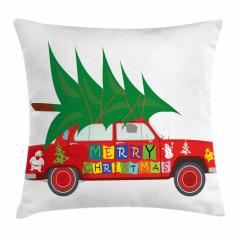 Noel Ağacı ve Araba Yastık Kırlent Kılıfı