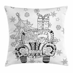 Noel Arabası Desenli Yastık Kırlent Kılıfı