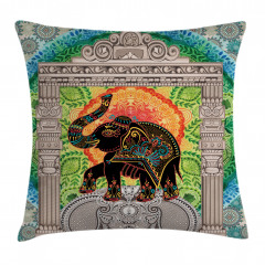 Fil ve Güneş Temalı Yastık Kırlent Kılıfı