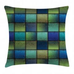 Mavi Yeşil Kare Desenli Yastık Kırlent Kılıfı