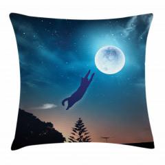Ay'a Atlayan Kedi Yastık Kırlent Kılıfı