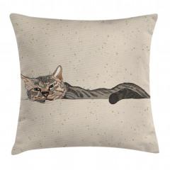 Kedi Desenli Yastık Kırlent Kılıfı
