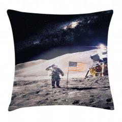 Şık Ay ve Astronot Yastık Kırlent Kılıfı