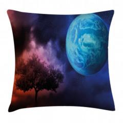 Ağaç ve Dünya Desenli Yastık Kırlent Kılıfı