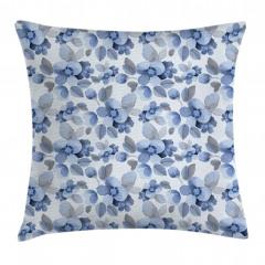 Mavi Lacivert Çiçek Yastık Kırlent Kılıfı