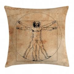 Da Vinci İnsan Anatomi Yastık Kırlent Kılıfı