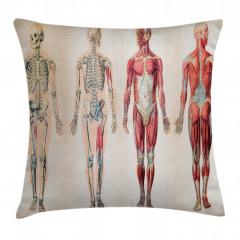 İnsan Anatomisi Desenli Yastık Kırlent Kılıfı
