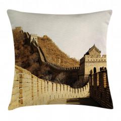 Sepya Çin Seddi Desenli Yastık Kırlent Kılıfı