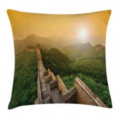 Çin Seddi ve Orman Yastık Kırlent Kılıfı