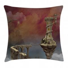 Fantastik Kule Desenli Yastık Kırlent Kılıfı