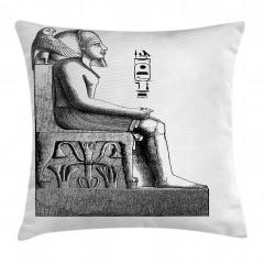 Oturan Mısır Heykeli Yastık Kırlent Kılıfı