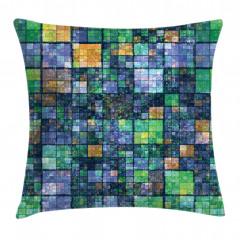 Yeşil Lacivert Mozaik Yastık Kırlent Kılıfı