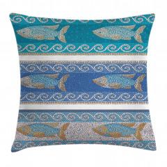 Mozaik Balık Desenli Yastık Kırlent Kılıfı