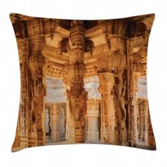 Antik Figürlü Sütunlar Yastık Kırlent Kılıfı
