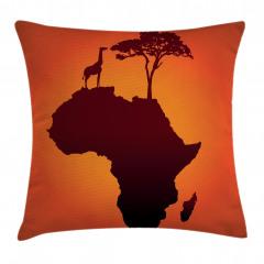 Afrika Zürafa ve Ağaç Yastık Kırlent Kılıfı