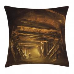 Maden Tüneli ve Madenci Yastık Kırlent Kılıfı