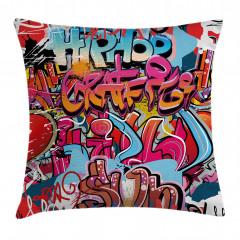 Rengarenk Grafiti Yastık Kırlent Kılıfı